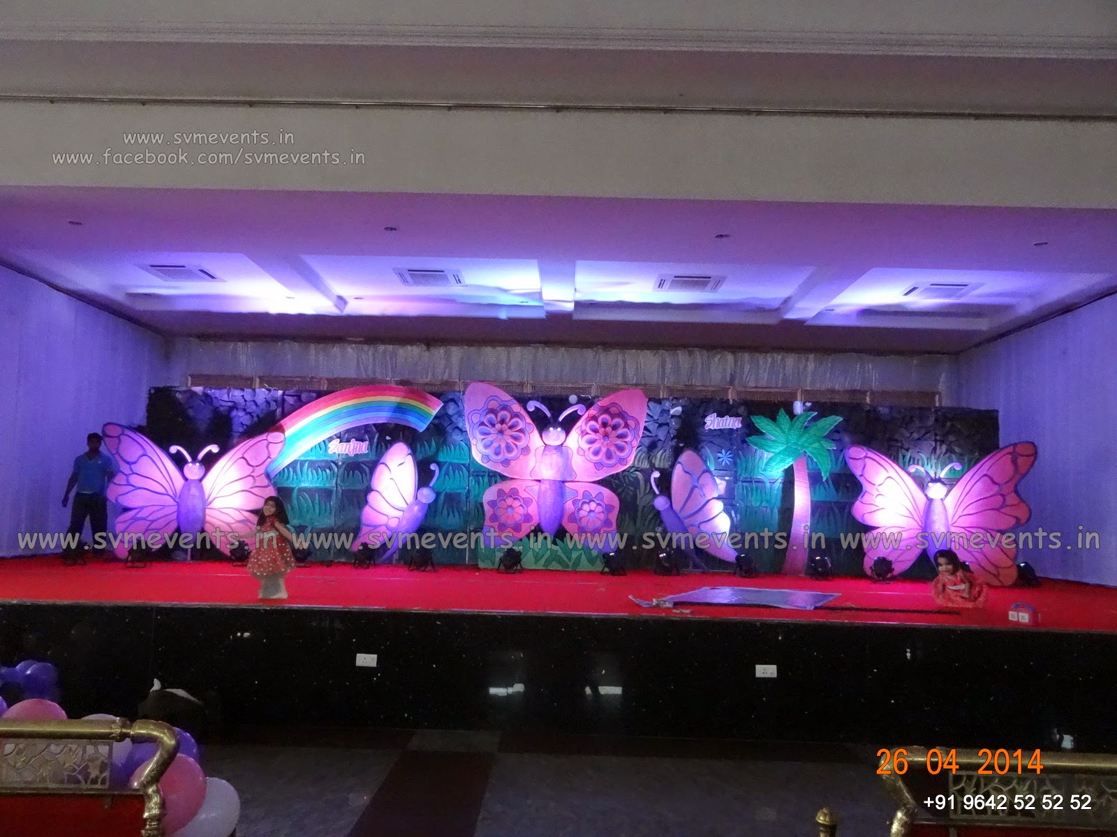 Svm events butterfly theme in pink color baby boy 1st for Balloon decoration ideas youtube