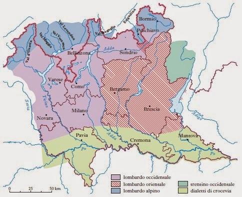 Mappa dei dialetti Lombardi