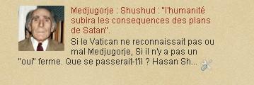 """Medjugorje : Shushud : """"l'humanité subira les consequences des plans de Satan""""."""