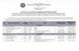 2016 PRC Examinations Schedule