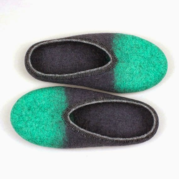 Ma Bicyclette - Buy Handmade - Clothing For Women - ONSTAIL - Grey & Electric Green Felted Clogs Slippers