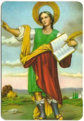 San Pancracio con palma de martirio y libro y brazo derecho en alto con el indice extendido