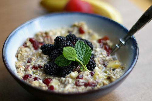cooked oatmeal with raisins and berries