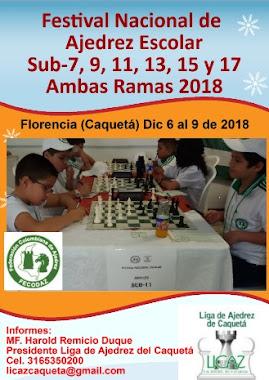 Festival Nacional de Ajedrez Escolar Sub-7, 9, 11, 13, 15 y 17 Ambas Ramas (Dar clic a la imagen)