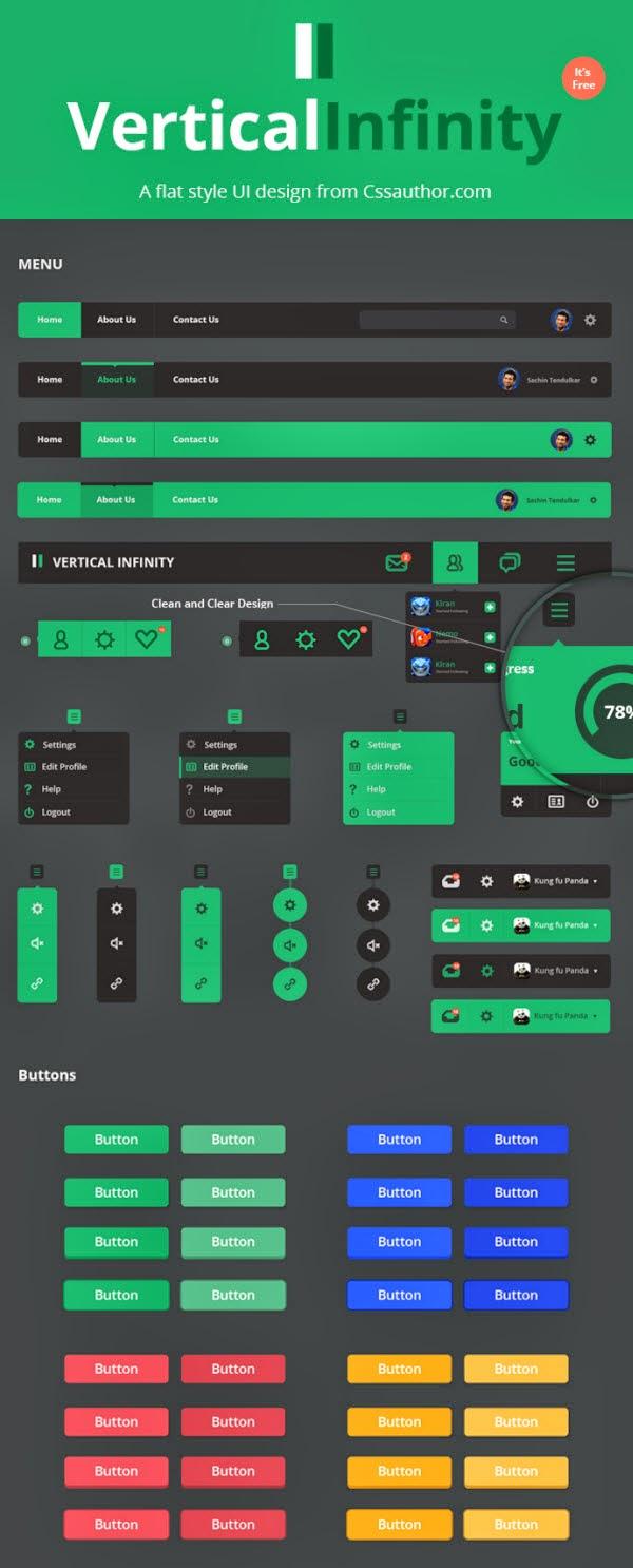 Flat Style UI Kit PSD