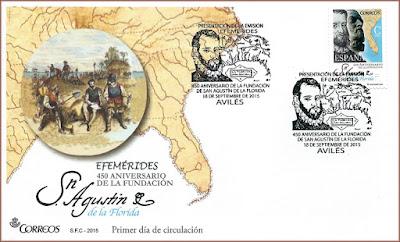 Sobre con el matasellos de Presentación del 450 Aniversario de la Fundación de San Agustín de la Florida