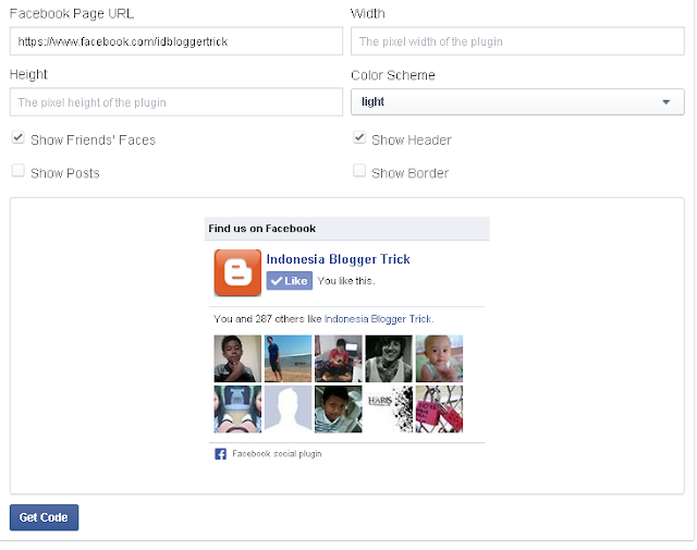 Setting Facebook like box di Blogger
