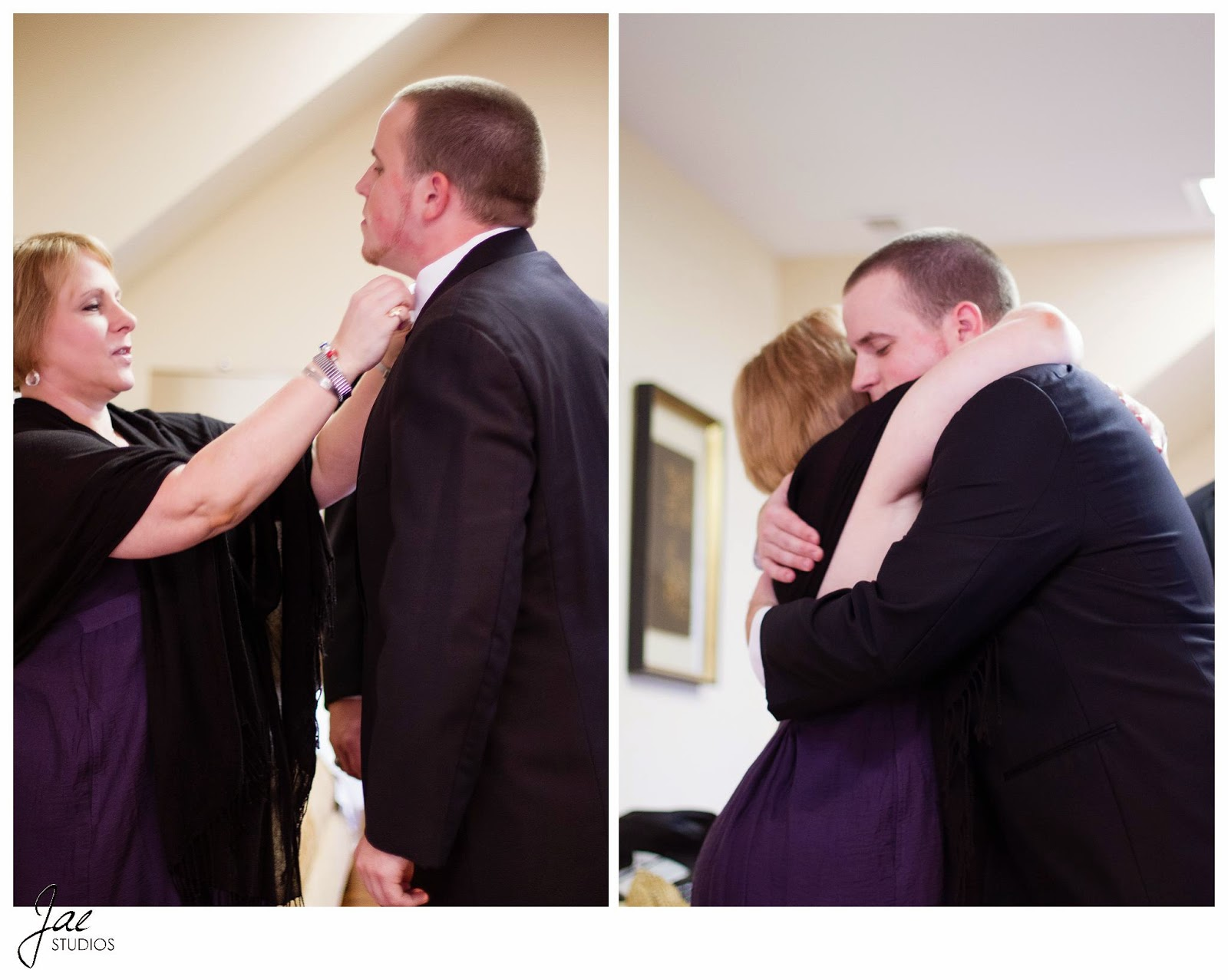 Jonathan and Julie, Bird cage, West Manor Estate, Wedding, Lynchburg, Virginia, Jae Studios, mother, groom, hug, fixing bow tie, purple, tuxedo, dress