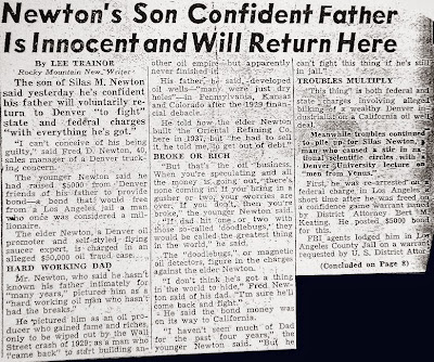 Silas Newton's Son Confident Father is Innocent –The Rocky Mountain News 10-17-1952