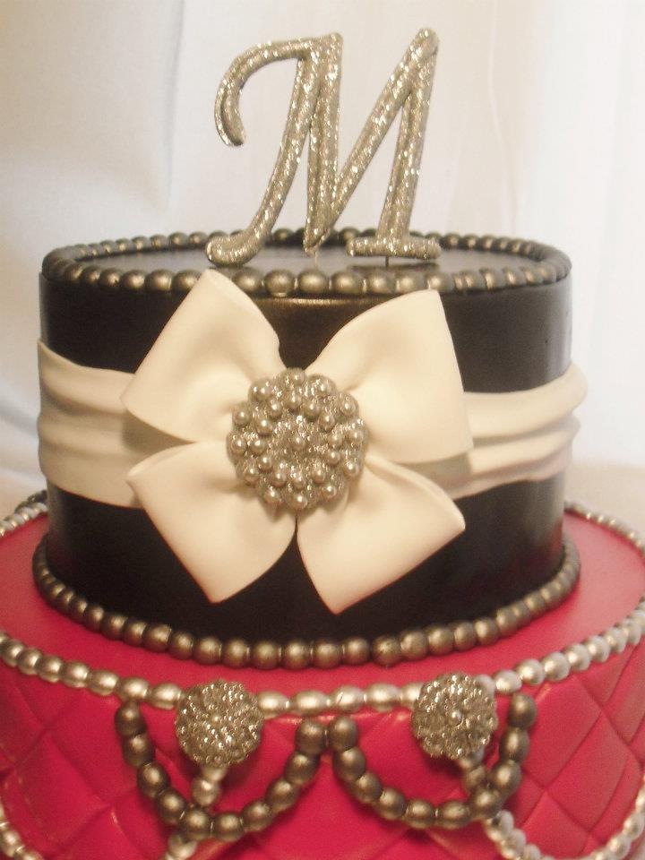 made FRESH daily Red Black Bling Birthday Cake