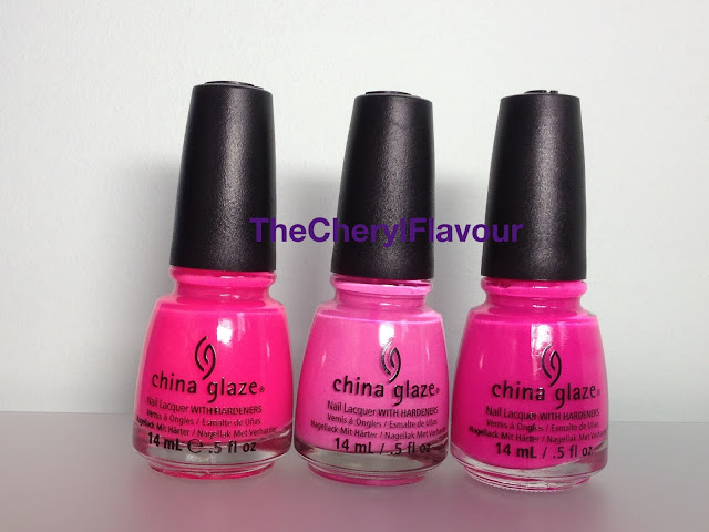 China Glaze Hot Index vs China Glaze Bottoms Up vs China Glaze You Drive Me Coconuts