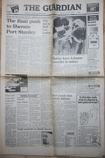 The Guardian Newspaper headlines from the Falklands War: 14 June 1982- The Final Push to Liberate Port Stanley