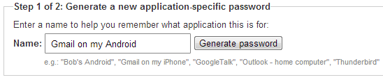 Application Specific Password