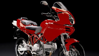wallpaper met rode motor erop