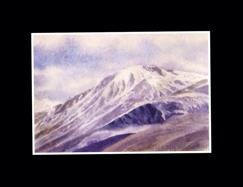 water colour painting of ladakh landscape by manju panchal