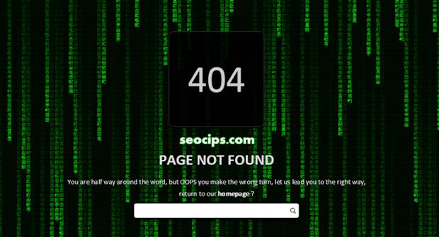 Membuat Error Page 404 Efek Animasi Matrix Rain di Blog