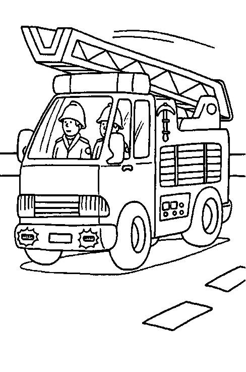 Camión de bombero colorear y pintar   Dibujos para Colorear Gratis