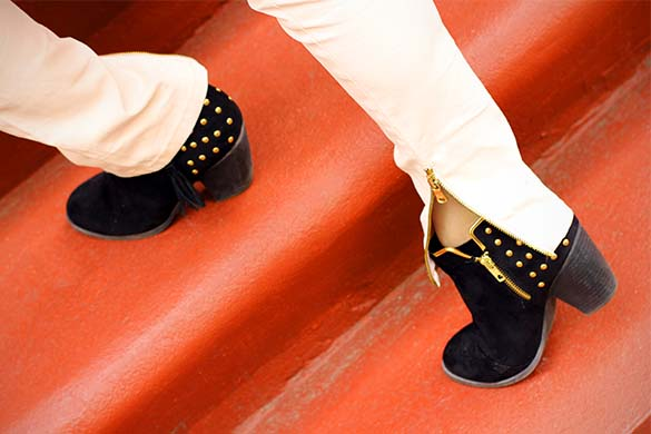 Shoedazzle Studded Black Faux Suede Boots