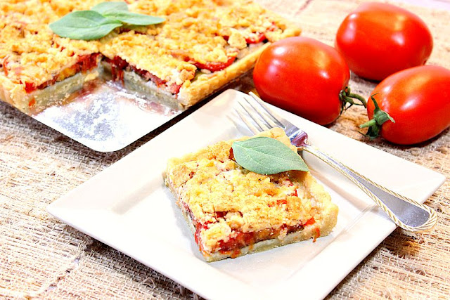 Tomato Spinach Tart with Cheesy Cornmeal Crust