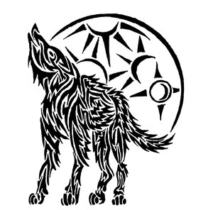 Tribal Howling Wolf Tattoo