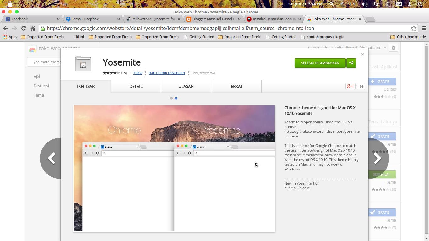Google chrome themes yosemite - Berikut Screenshot Keseluruhan Tema Yellowstone Ini Pada Screenshot Ini Saya Menggunakan Plank Themes Cameleon