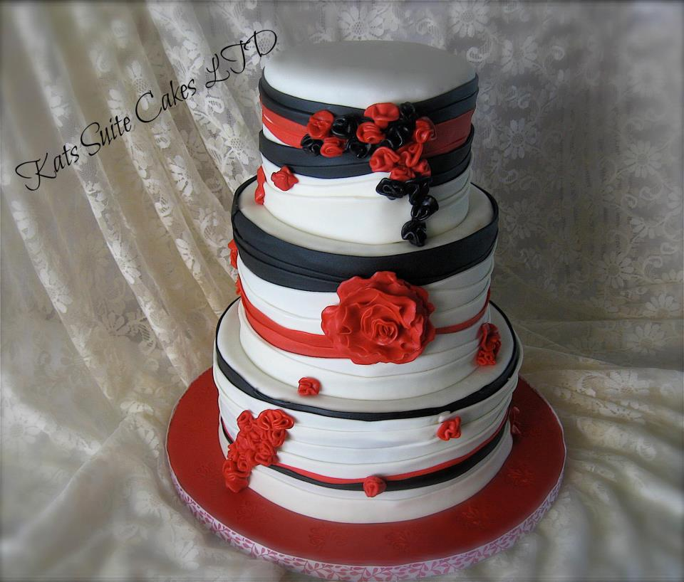 Black White And Red 40th Birthday Cake Inspired By Dress Worn Recipient All Three Tiers Are Rich Chocolate With Whipped Ganache In The Bottom