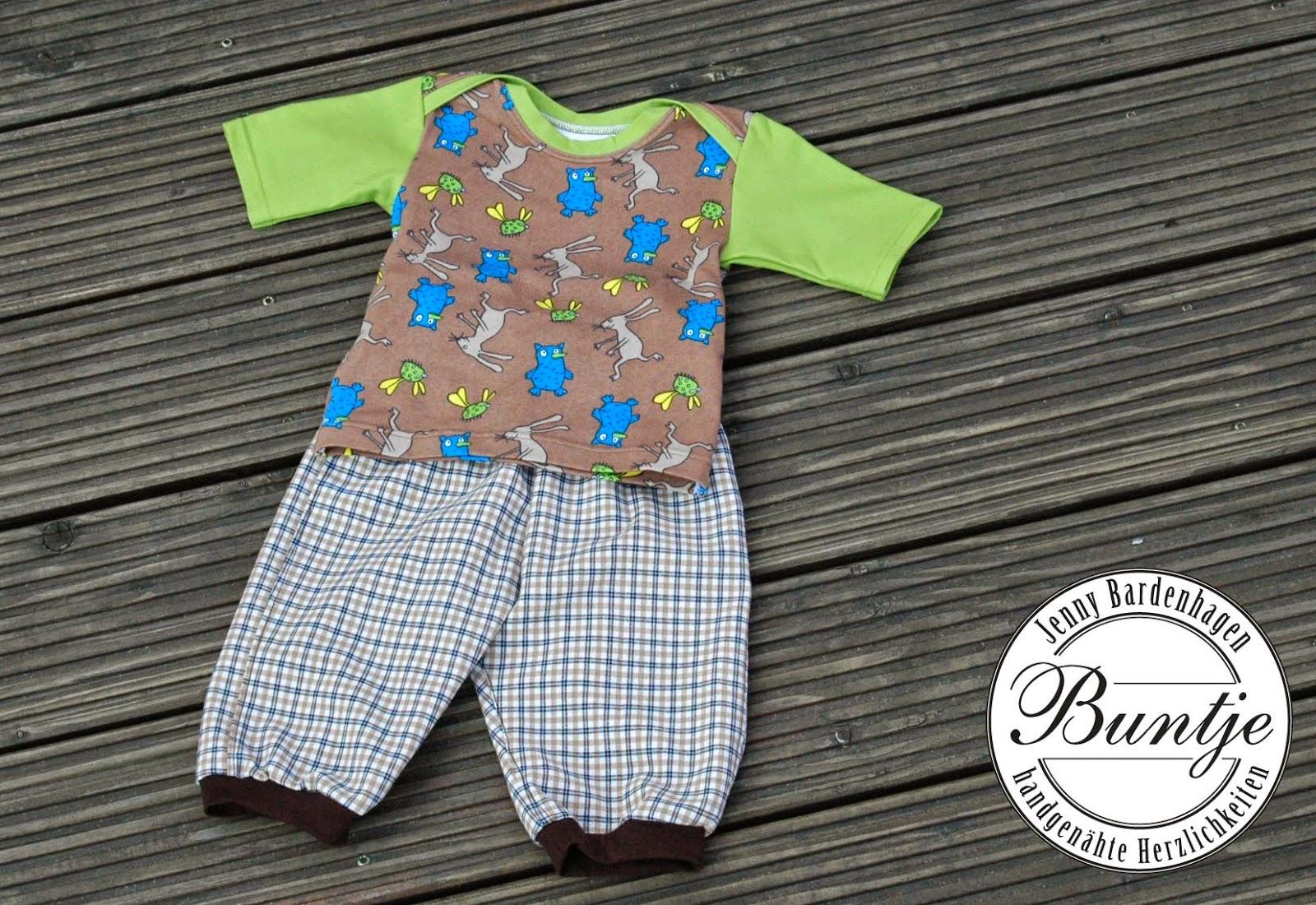 Farbenmix Zwergenverpackung 1 2 Shirt Hose Baby Junge Jersey amerikanischer Ausschnitt genäht handmade Buntje