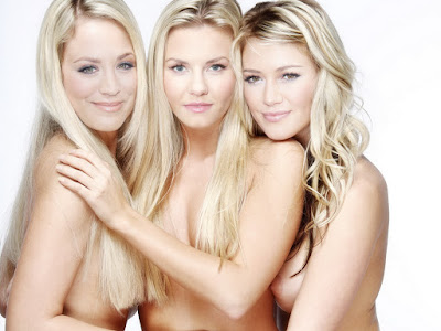 Kaley Cuoco Elisha Cuthbert and Hilary Duff nude blonde trio