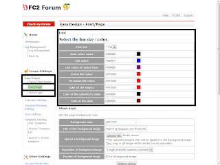 Set the font size and color of your forum / board, Font size, Basic letter colors, Link colors, link colors of visited sites, Active link colors, On mouse link colors, color of the subject, color of the submitter's name, color of the date,
