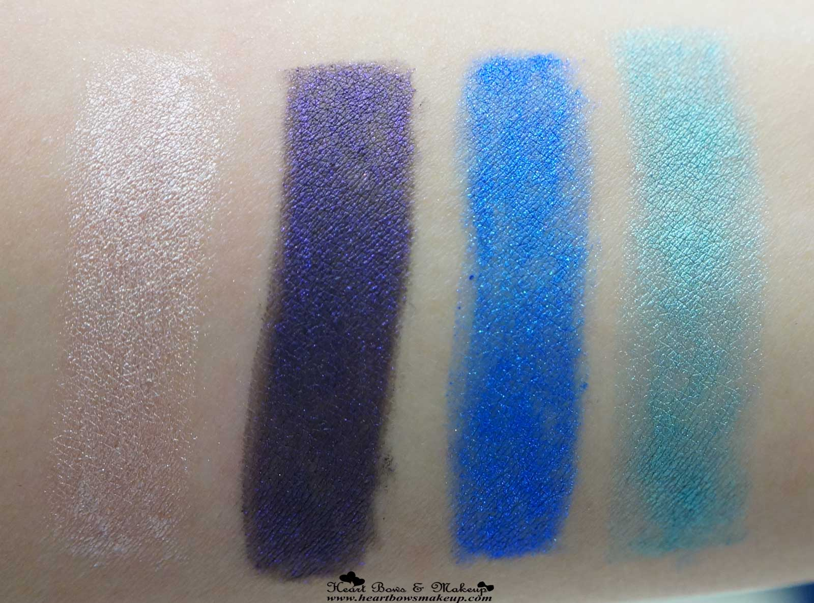 All Maybelline Color Show Eye Kohl Shiny Beige Noble Purple Ocean Blue Peacock Green Swatches Review Price India