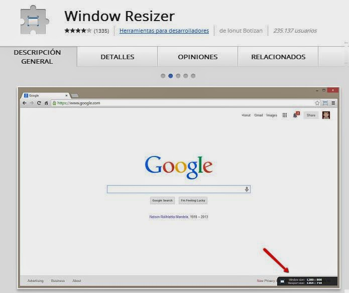 Windows resizer Extension Google Chrome