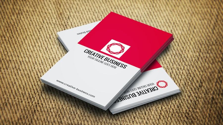 كرت شخصى او بطاقة اعمال باللون (ابيض فى احمر ) business cards templates