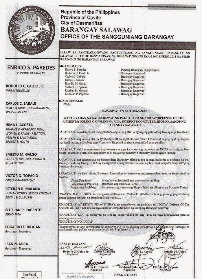 DOTA ban barangay salawag cavite resolution