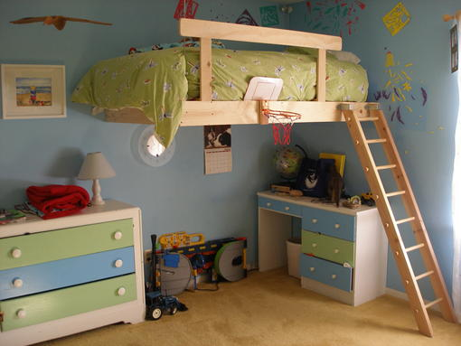 Loft Beds in The Bedrooms Decorated Lovely Pattern