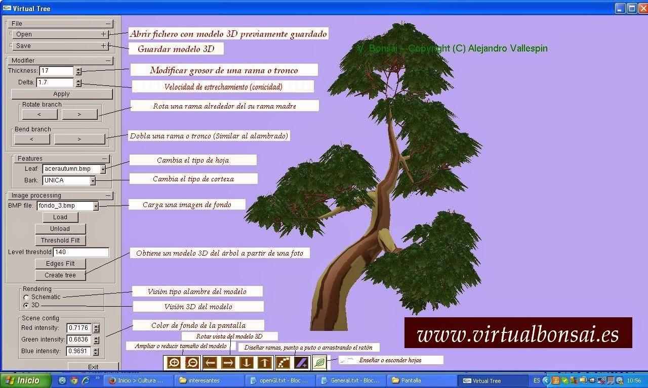 Interfaz gráfica de la aplicación virtualBonsai
