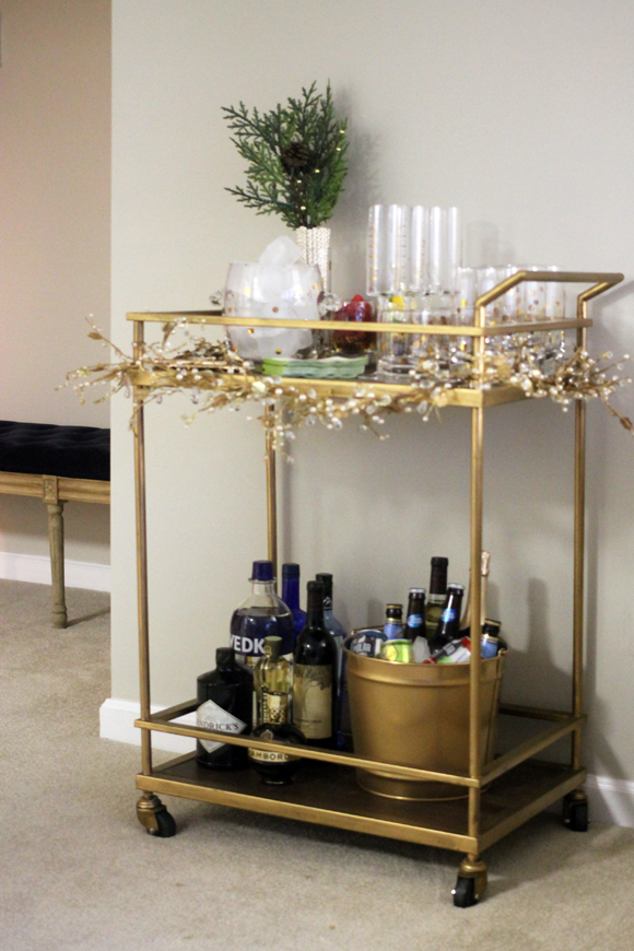 threshold bar cart update, bar cart at home, interior design with bar cart