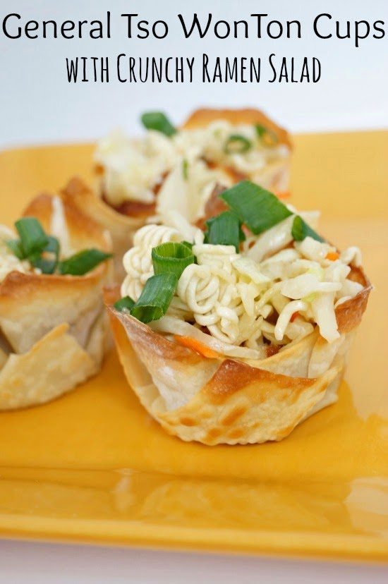General Tso WonTon Cups with Crunchy Ramen Salad #ad #gametimeheros @delianytime