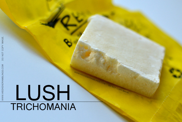 Lush Trichomania Solid Shampoo Colored Processed Dry Damaged Haircare Organic Natural Ingredients Conditioning Coconut Oil Cream Indian Beauty Blog Reviews