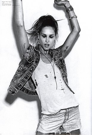 Erin Wasson ripped denim tee shirt