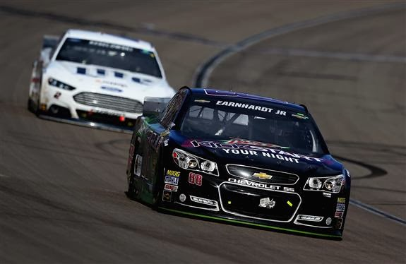 Dale Earnhardt Jr leading Brad Keselowski at Las Vegas, ph cr: NASCAR via Getty Images