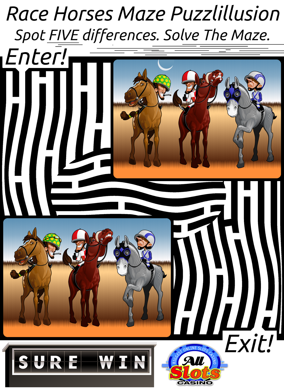 horse racing maze puzzle