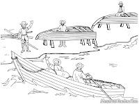 Gambar Mewarnai Nelayan Pulang Mencari Ikan