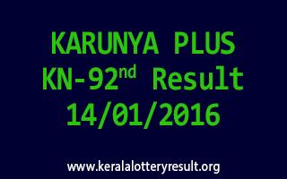 KARUNYA PLUS KN 92 Lottery Result 14-01-2016