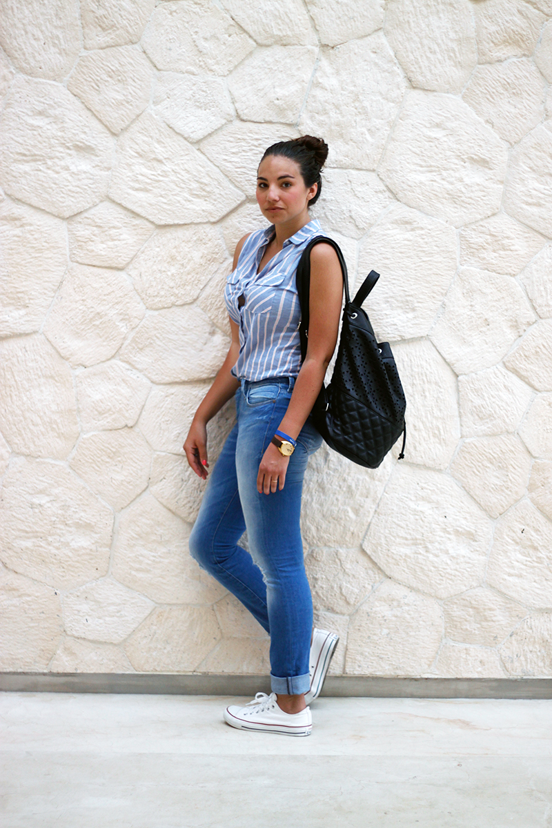 casual outfit, striped shirt and jeans