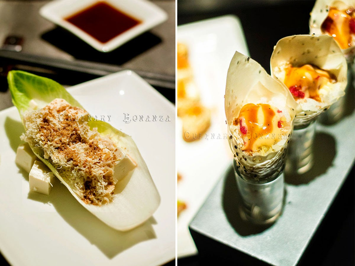 Fresh Crab Salad - crab meat and tofu with sesame dressing, tasted fresh and light | Special Fresh Crab Handroll - crab meat and tuna wrapped in soy paper