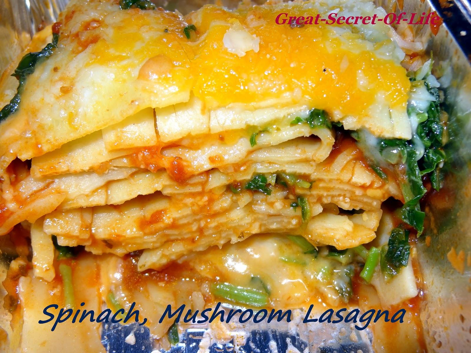 Spinach, Mushroom Lasagna