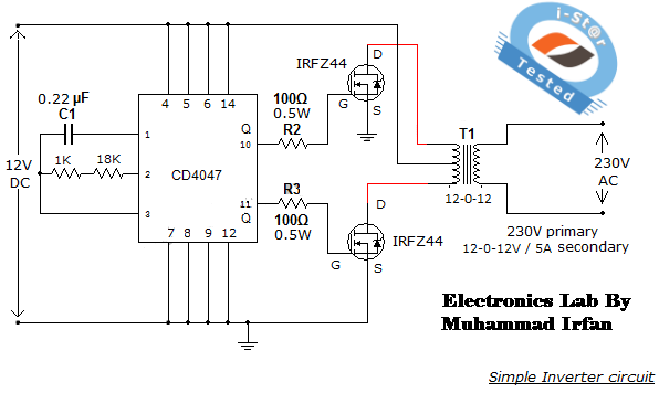 Simple low power Inverter Circuit (12V DC to 230V or 110V AC ...