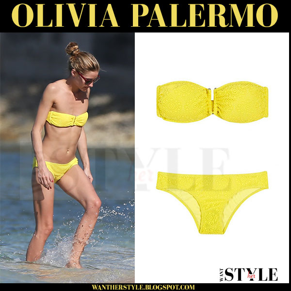 Olivia Palermo in yellow bandeau bikini heidi klein cassis what she wore beach style