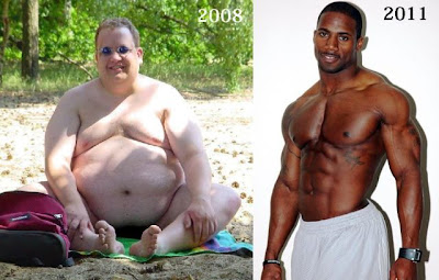 My P90X workout results. 300 pould whit white guy turns into ripped muscular black dude in three years.