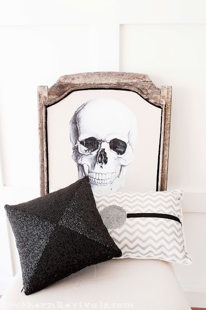 DIY Halloween Skull Skeleton Chair Makeover Redo Upcycle